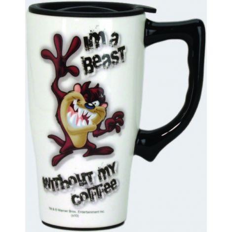 White Looney Tunes Taz Travel Mug