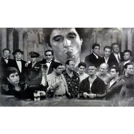 Black and White Gangsters Collage Poster