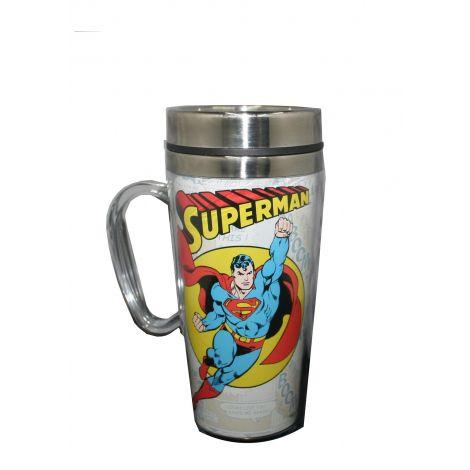 Superman flying travel mug