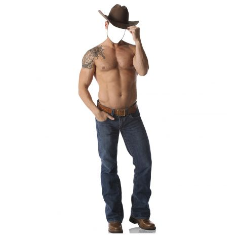 Shirtless Cowboy Stand-in Cardboard Cutout #1979