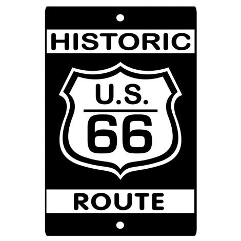 Route 66 Sign - Black