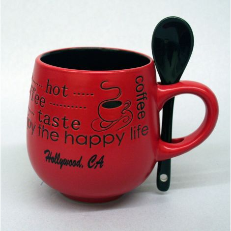 Hollywood Red coffee Mug with spoon
