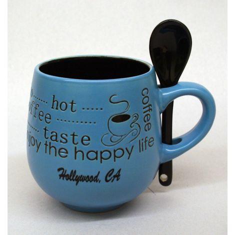 Hollywood blue coffee mug with spoon