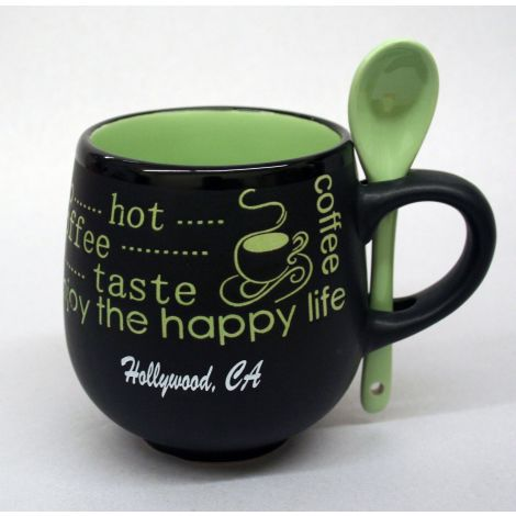 Hollywood black and green mug with spoon