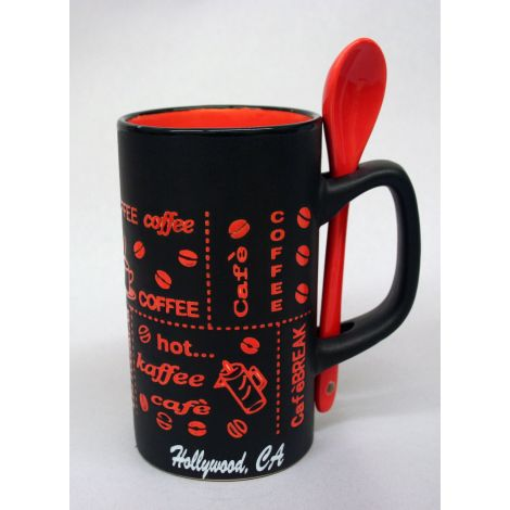 Hollywood black and red latte mug with spoon