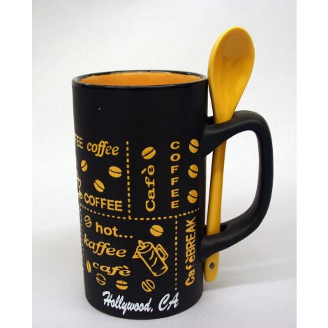 Hollywood black and yellow latte mug with spoon