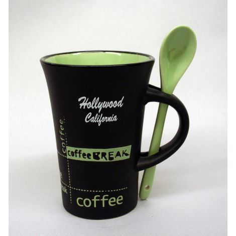 Hollywood black and green latte mug with spoon