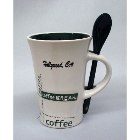 Hollywood white and green latte mug with spoon