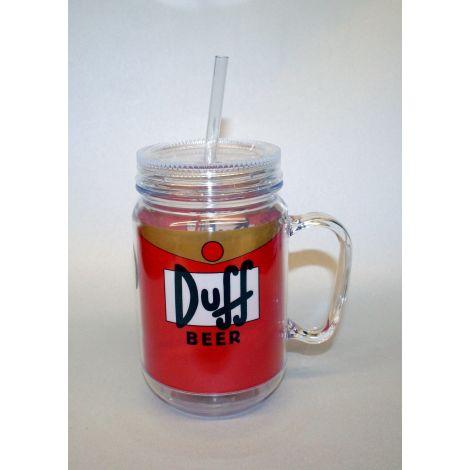 Duff Beer Mason Jar with straw