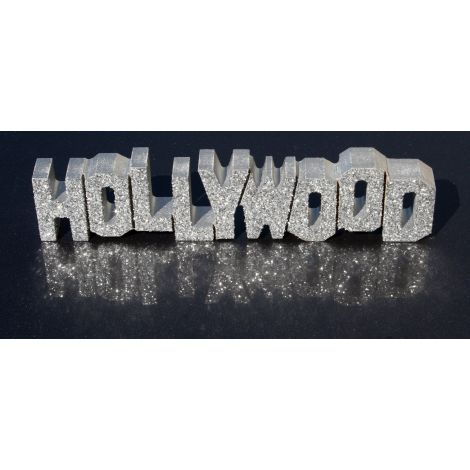 Wooden Hollywood Sign with silver sparkles
