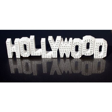 White Wooden Hollywood Sign with rhinestones