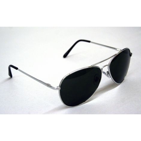Silver Frame Aviator Style Sunglasses