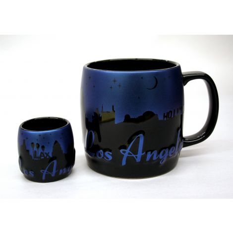 Embossed Coffee Mug and ceramic shotglass set