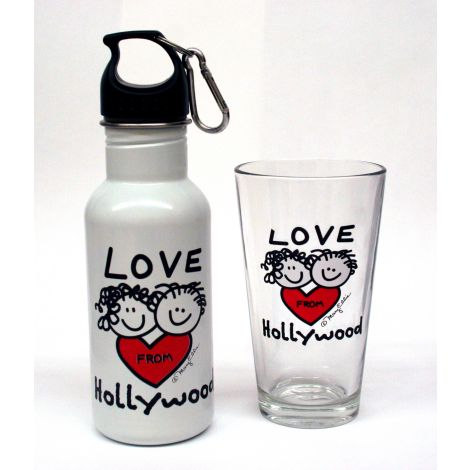 Hollywood Pint Glass and water bottle set
