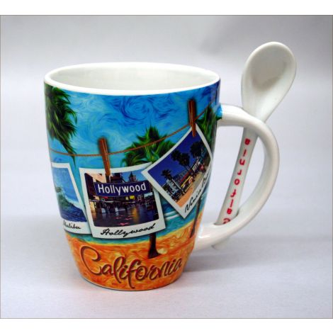 California Beach Mug with Spoon