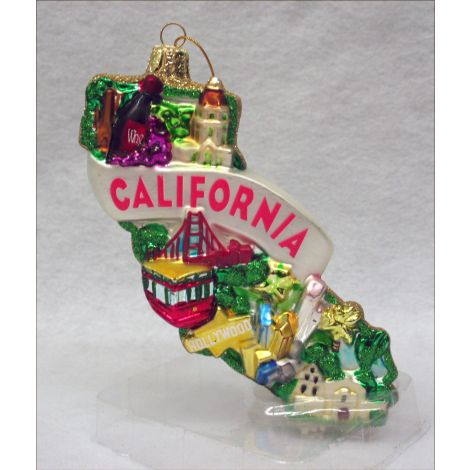 California Glass Christmas Ornament
