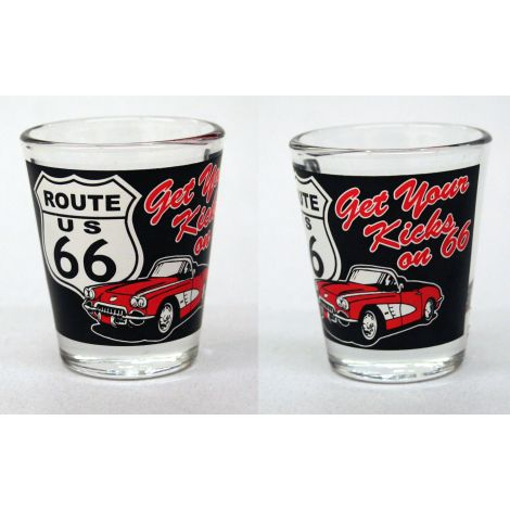 Get Your Kicks On Route 66 Shotglass - Black