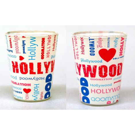 Hollywood Collage Shotglass - White
