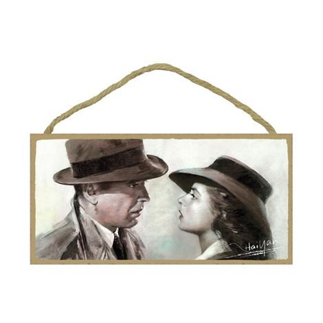 Casablanca (Humphrey Bogart & Ingrid Bergman) Wood Plaque