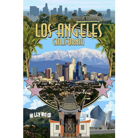 Los Angeles Wood Plaque