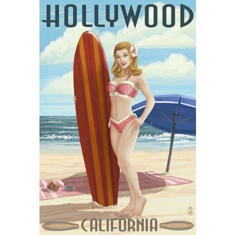 Hollywood Surf Wood Plaque