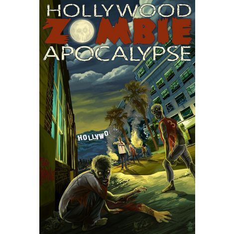 Hollywood Zombie Apocalypse Wood Plaque