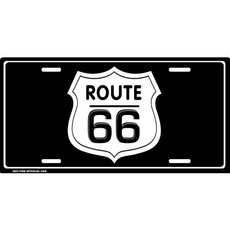 Route 66 License Plate - Black
