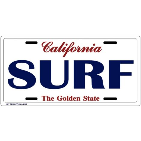 California Surf License Plate