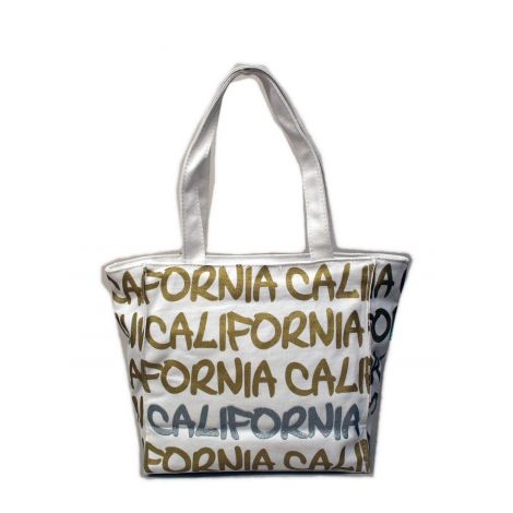 Silver California Canvas Shoulder Bag