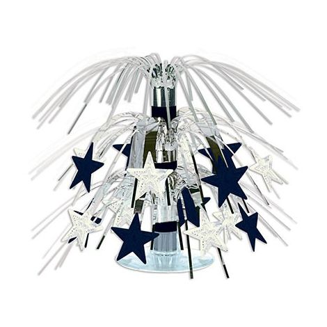 Mini Cascading Stars Centerpiece - Silver & Black