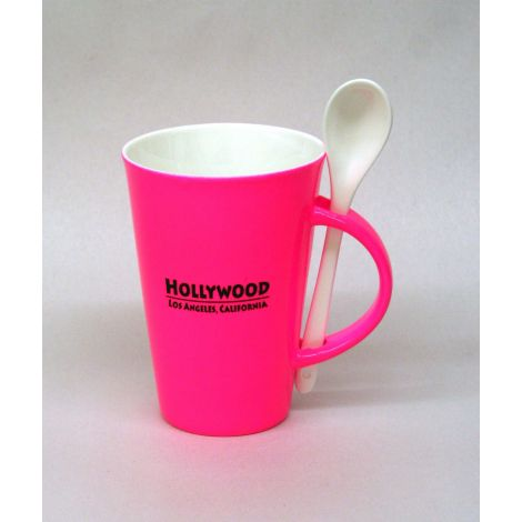 Hollywood Mug with Spoon - Pink