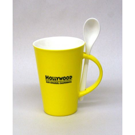 Hollywood Mug with Spoon - Yellow