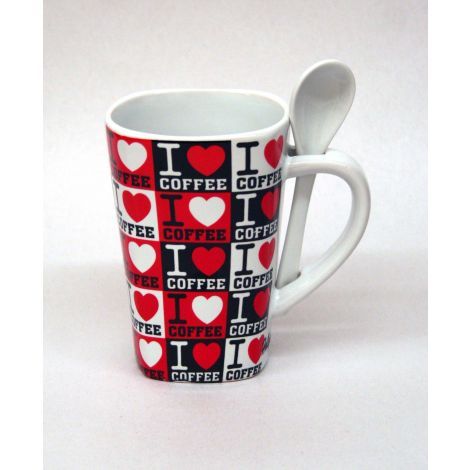 I love coffee Mug with Spoon - White