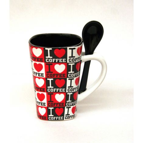 I love coffee Mug with Spoon - Black