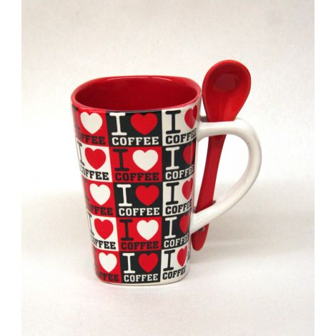I love coffee Mug with Spoon - Red