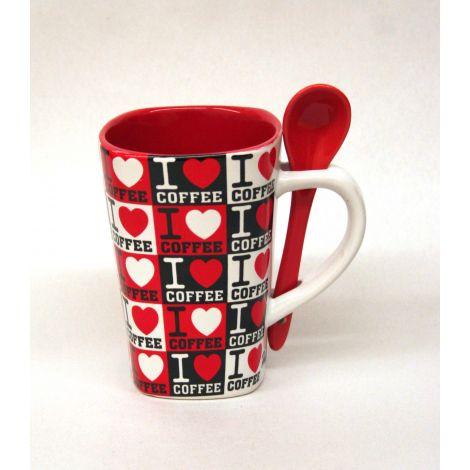 I love coffee Mug with Spoon - Red