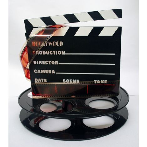 Hollywood Studio Clapboard & Reel Centerpiece - Black
