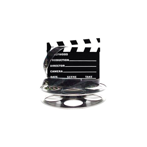 Hollywood Studio Clapboard & Reel Centerpiece - Silver