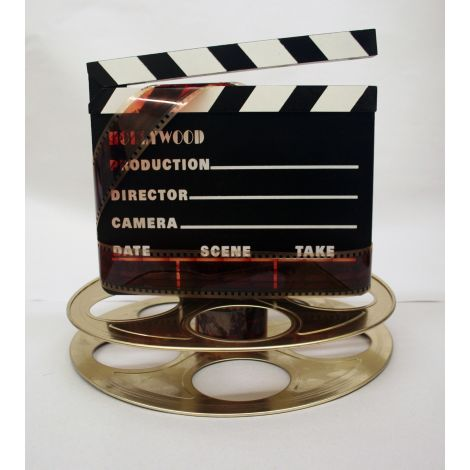 Hollywood Studio Clapboard & Reel Centerpiece - Gold