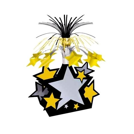 Star centerpiece Black Gold Silver Stars
