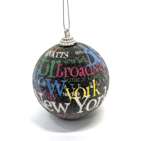 New York, Black Christmas Ornament