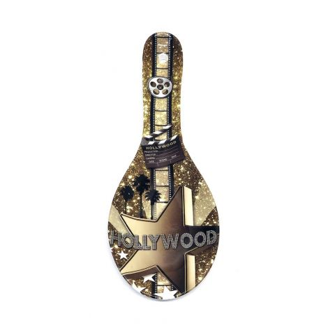 Gold color in this Hollywood Movie Star Ceramic Kitchen Spoon Rest