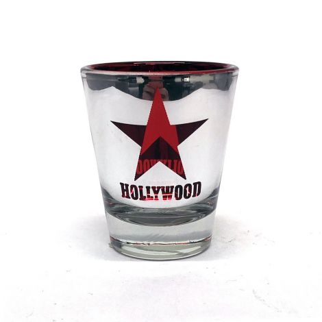 Metallic Hollywood Red Star background Shot Glass