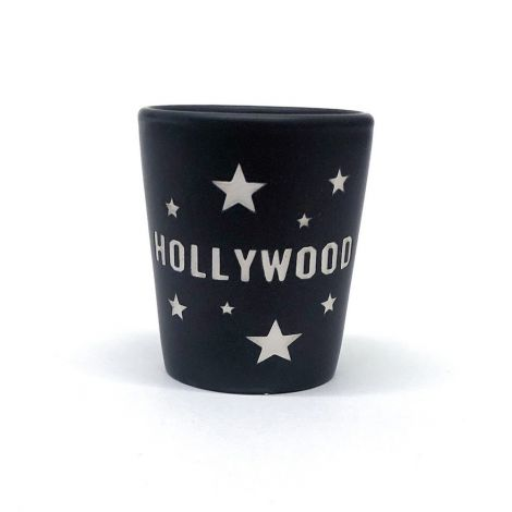Black Hollywood Shot Glass with silver stars