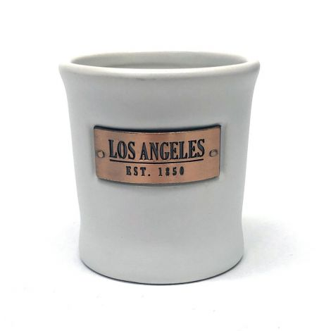 White ceramic Shot Glass With Gold Sign Los Angeles Est. 1850