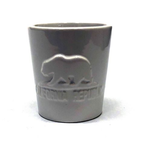 White ceramic Shot Glass With emboss California Republic bear