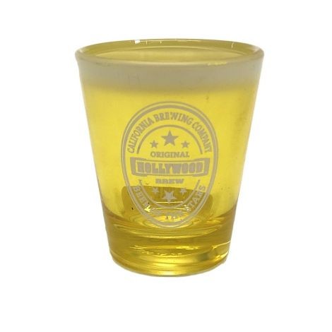 Hollywood Brew Frosted Shot Glass Yellow With White Smoke On The Top Shot Glass