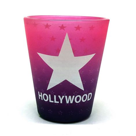 Hollywood Frosted Pink And Purple Shot Glass with a white star