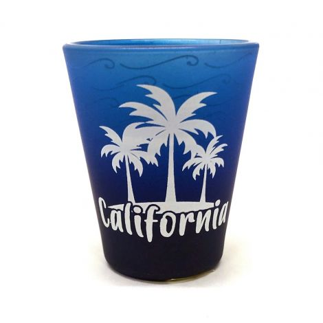 California palm trees Frosted Blue Shot Glass