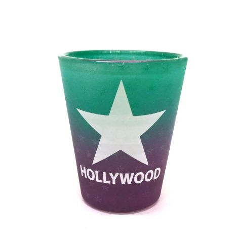 Hollywood Frosted Green purple Shot Glass with a white Star